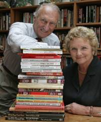 Tonie and Valmai Holt with some of the books that they have written.