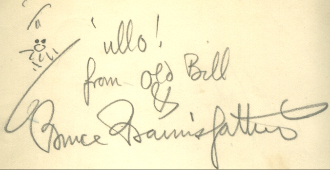 A typical Bairnsfather signature in an autograph book